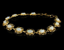VINTAGE SOLID NATURAL 6.0ctw AUSTRALIAN OPAL 14K YELLOW GOLD FILIGREE BRACELET