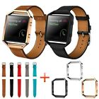 Luxury Leather Wrist Watch Strap Band + Metal Frame For Fitbit Blaze Smart Watch