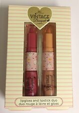 VINTAGE BOUQUET Lipstick + Lipgloss Duo BOXED GIFT SET - Not tested on animals