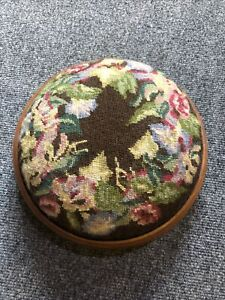 Small Round Vintage Tapestry Footstool Wooden Rim And Bottom