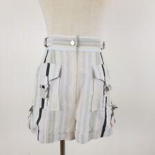 Zimmermann Women's Short Shorts Blue Grey 0 XS 6 8 Linen High Waisted Striped