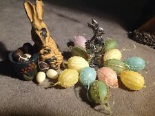 Set Of 2 Rabbit Figures With Faux Eggs