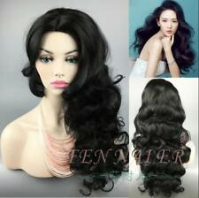 Rose wire high temperature nice black big wave long curly hair hot wig
