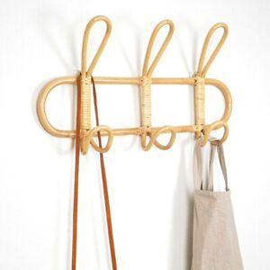Rattan Wall Hooks Garments Organizer Rack Clothes Hat Hanging Hook Rattan Hanger