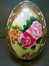 Satsuma style heavy porcelain gold trimmed egg, pink and yellow roses  USED