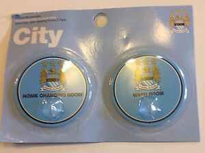 Manchester City FC Official Metal Sign w/ Hanging Robe Hooks 2 Pack NEW