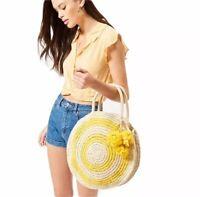 NEW PacSun Straw Circle Beach Day Trip Tote Bag Yellow Pom Pom NWT