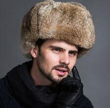 Men's Winter Hat Simulation Fox Fur&Lamb Leather Russian Ushanka Cossack Trapper