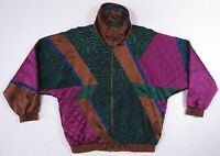 NWOT Vintage 80s 90s Geometric Color Block Full Zip Windbreaker Bomber Jacket M
