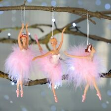 Pink Set of 3 Ballerina Hanging Christmas Tree Decorations
