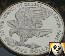 1991 RARE Isole Marshall $5 CINQUE DOLLARI MONETA Desert Storm bunc FDC solo 2000!