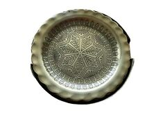 Vintage Godinger Coasters and Holder Set of 4 Etched Brass Star Mandala Barware