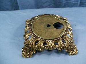 "Ornate Cast Metal Electric Lamp Base - Antique Brass Finish 5 1/2"" Wide"