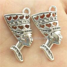 15719*15PCS Antique Silver Vintage Love Heart Queen Egypt Egyptian Pendant Alloy