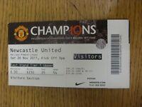26/11/2011 Ticket: Manchester United v Newcastle United  (folded). Footy Progs/B