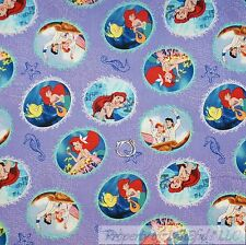 BonEful Fabric FQ Cotton Quilt Purple Little Mermaid Movie Circle Star*Fish Girl