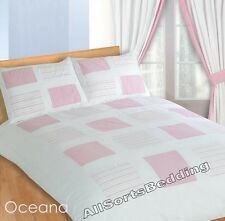 DOUBLE BED DUVET COVER SET OCEANA PINK WHITE STRIPES SQUARES SIMPLE ELEGANT