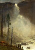 "Dream-art Handpainted Oil painting grand landscape Nevada Falls canvas 24""x36"""