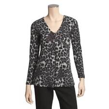 """""""Thought"""" Grey Leopard Print Blouse Long Sleeve (L) NWT"""