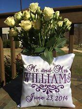White Satin Wedding Ring Bearer Pillow Personalized