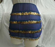 Egyptian Belly Dancing Navy Blue Rectangular Belt With Gold Metal Coins #23