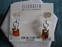 ELIZABETH LIZ CLAIBORNE GOLD AND SILVER TONE DANGLE EARRINGS NEW WITH TAGS