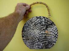 (EL20-4) Genuine white black Alligator Leather Handbag SKIN Hide round PURSE BOX