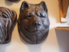 More details for large bronzed stone akita dog dogs head wall hanging sculpture
