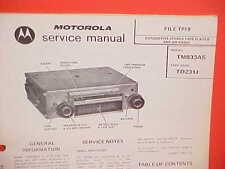1973 MOTOROLA CAR 8-TRACK STEREO TAPE PLAYER/AM RADIO SERVICE MANUAL TM833AS