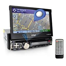 """New PYLE PLBT71G 7""""SINGLE DIN MOTORIZED DVD WITH BT/GPS  Call Ans. Touch Screen"""
