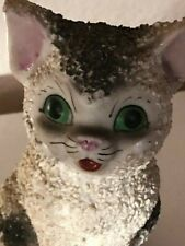 Vintage Salt Glazed Textured Cat Figurine - Japan 1950's Look at That Face