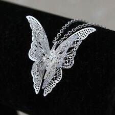 necklace with chain jewellery. women beautiful butterfly pendant silver