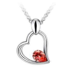 Heart Crystal Rhinestone Necklace Silver Chain j23