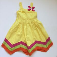 Donita Girls Sz 10 Yellow Orange Pink Green Handkerchief Hem Fancy Dress