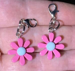 2 Pc Small Pink Daisy Flower Charm Zipper Pulls & Keychain Add On Clips!!