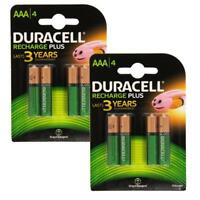 New 8 X Duracell AAA 750 mAh Rechargeable Batteries NiMH ACCU LR03 HR03 DC2400
