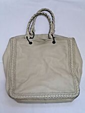 BOTTEGA VENETA beige embroidered woven trim deerskin leather tote bag handbag