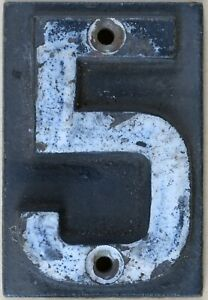 Old house number 5 door wall plate plaque railway sleeper heavy cast iron sign