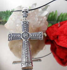 Zilar Lederkette mit riesigem Totenkopf Kreuz Anhänger Antik Style / Lederband
