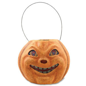 Bethany Lowe Pumpkin Jack Lantern Bucket Head Halloween Folk Vntg Style Decor