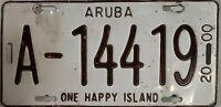 Vintage Collectible Aruba 2000 Automobile License Plate 'One Happy Island'