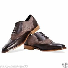 Redfoot Cuero Y Gamuza Oxford Brogue Marrón Zapatos Con Cordones UK 9/euro 43 RRP £ 90