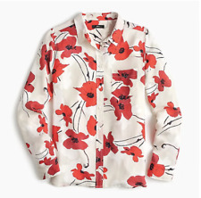 $120 J.Crew Classic-fit boy shirt in silk poppy print-K1835-NATURAL CERISE-sizes