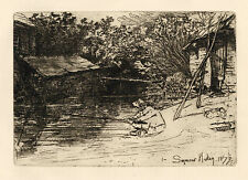 "Sir Francis Seymour HADEN original etching ""The Angler"""