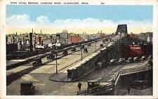 Ohio, Cleveland, High Level Bridge, looking West, vintage auto cars 1927