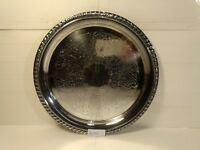 "Vintage Kent Silversmiths 12"" Silverplate Round Decorative Serving Tray hd1081"