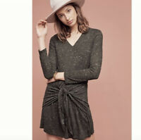 dolan Anthropologie M Tie Waist Dress Stretch Jersey Slub Knit Lined $138