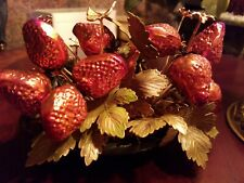 Metal Art & Enamel Strawberry Basket Vintage Rare Heavy Butterfly Flowers Beauty