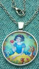 Snow White & Forbidden Apple Glass Dome Pendant Silver Colour Necklace Chain