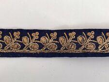 Hilo de oro antiguo indio atractivo Bordado de Encaje Floral Tela Azul - 1 Mtr